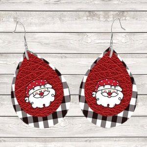 Santa White & Black Buffalo Plaid Teardrop Earring